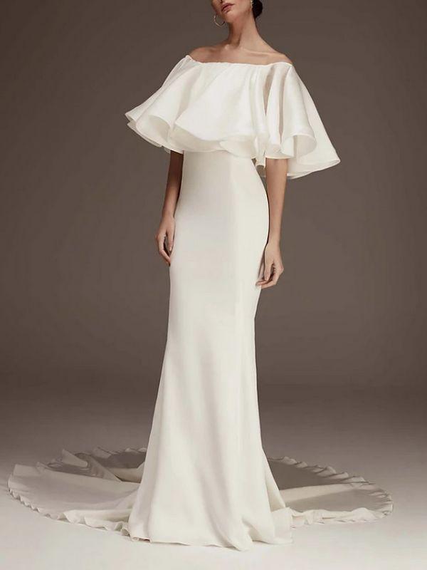 Elegantes geschwollenes schulterfreies Meerjungfrau-Hochzeitsempfangskleid
