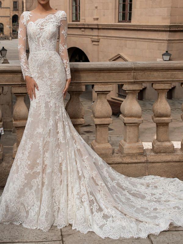 Charmantes Meerjungfrau Brautkleid mit langen Ärmeln Blumenspitze Brautkleid