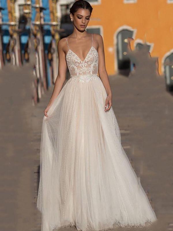 Spaghetti Straps V-neck Chiffon Simple Wedding Dress