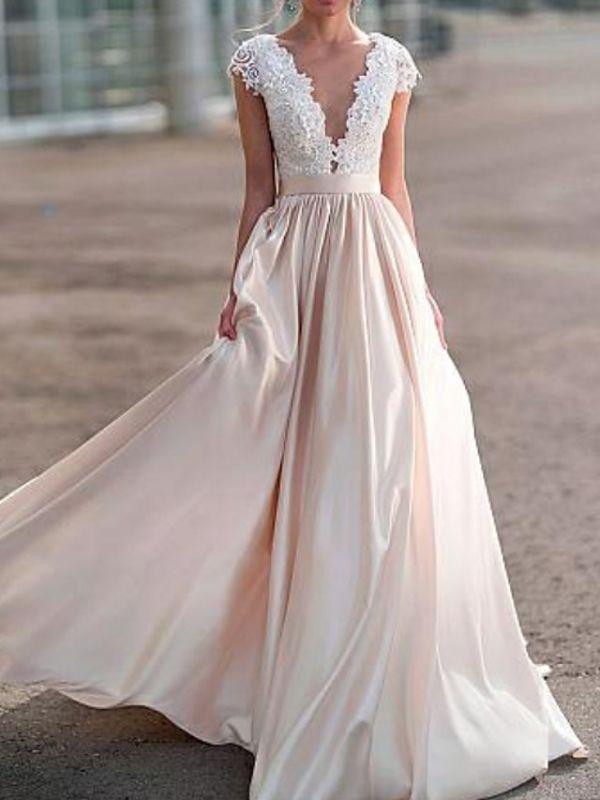 Elegante Flügelärmel mit tiefem V-Ausschnitt ALine Satin Hochzeitskleid