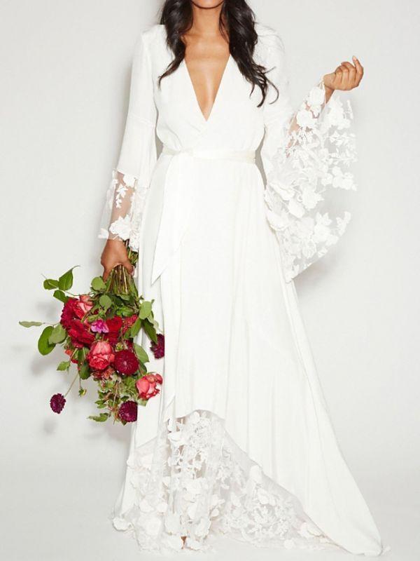 Ruffle Sleeves V-neck Aline Ho-lo Wedding Reception Dress