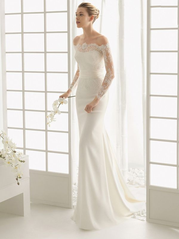 Elegantes Off Shoulder Spitze Meerjungfrau Brautkleid mit langen Ärmeln Schlankes Brautkleid