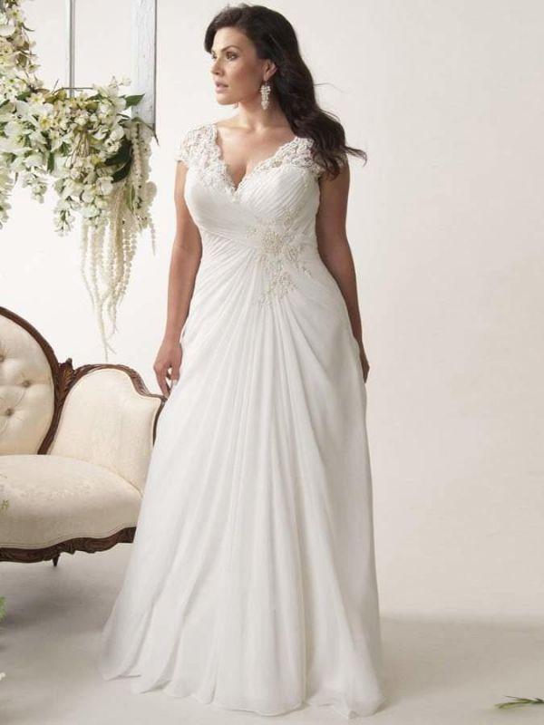 Plus Size Cap Sleeves Chiffon Lace Appliques Garden Aline Wedding Dress