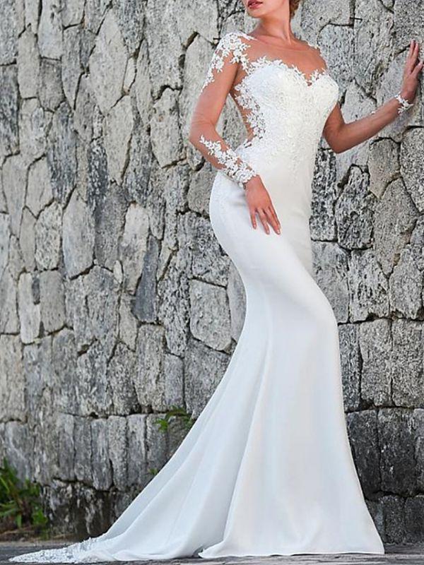 Charmantes weißes Meerjungfrau-Brautkleid mit langen Ärmeln Spitzenapplikationen Brautkleid