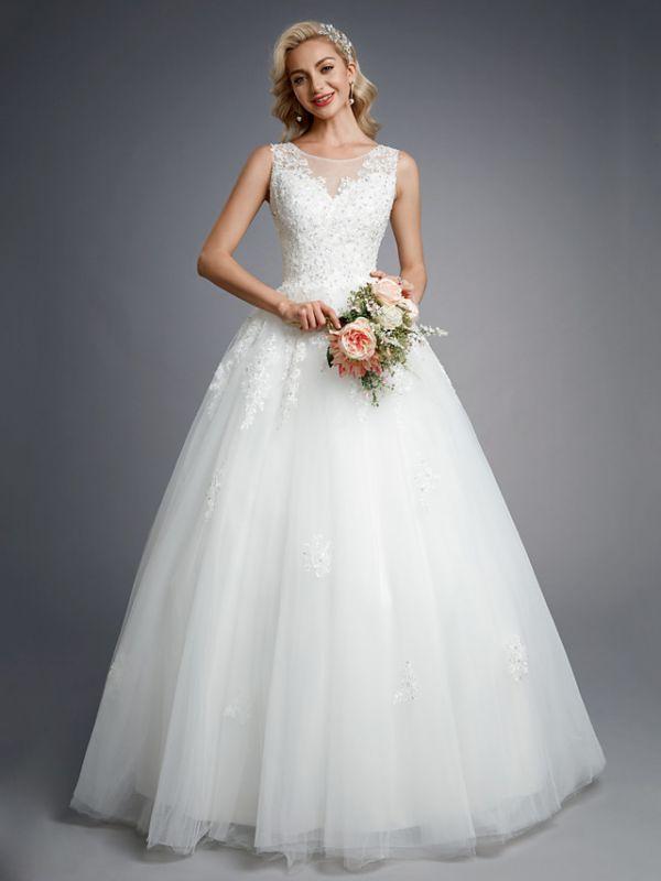 Robes de mariée élégantes sans manches col rond blanc Aline robe de mariée en dentelle florale