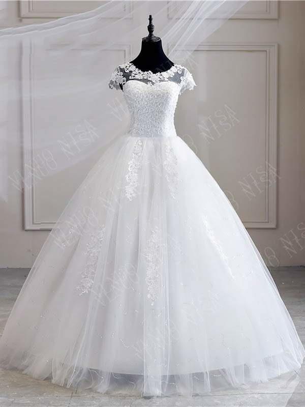 Flügelärmeln weiße Tüll-Spitze Applikationen Brautkleid Aline bodenlangen Brautkleid