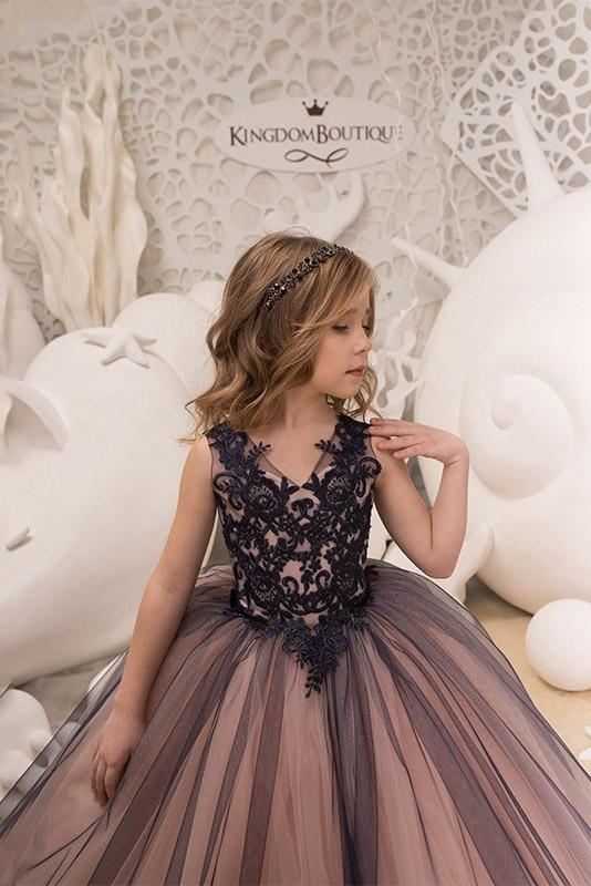 Sleeveless 3DFloral Lace Appliques Tulle Flower Girl Dress