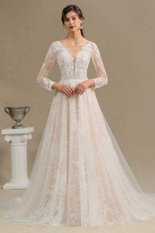 Glamouröse Elfenbein Spitze Applikationen Hochzeitskleid Tüll Langarm Brautkleider