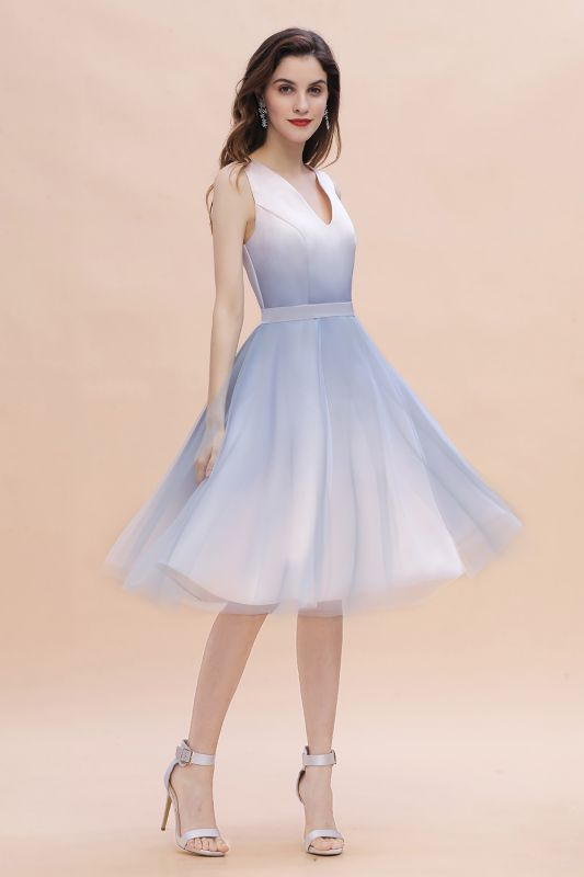 Elegant Gradient V-Neck Evening Party Dress A-line Daily Wear Short Dress