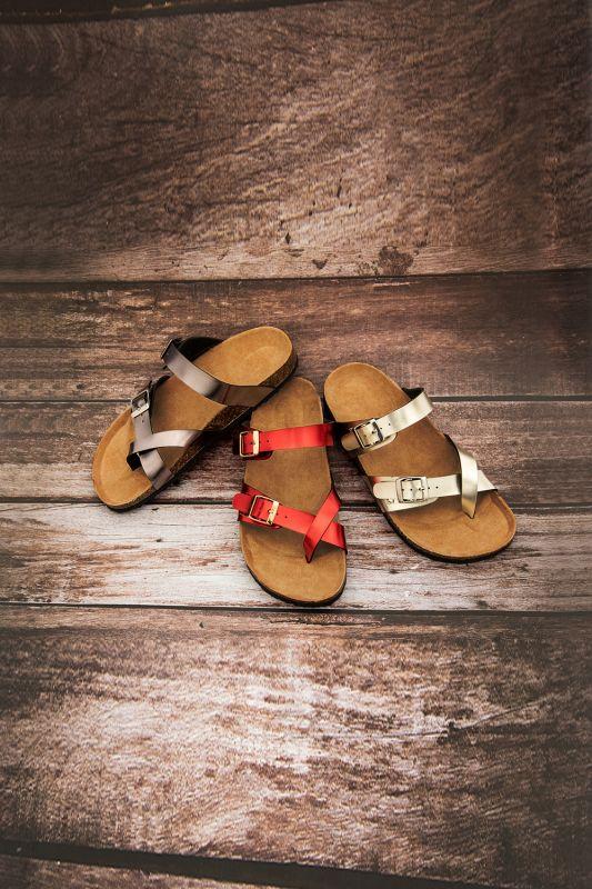 Women's Cork Slides Sandals Adjustable Double Buckle Flat Sandals for Women Slide