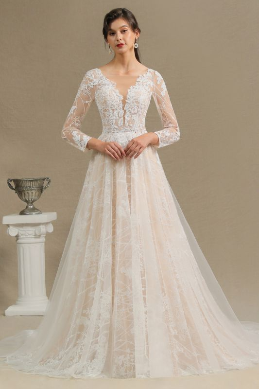 Glamorous Ivory Lace Appliques Wedding Dress Tulle Long Sleeve Bridal Gowns