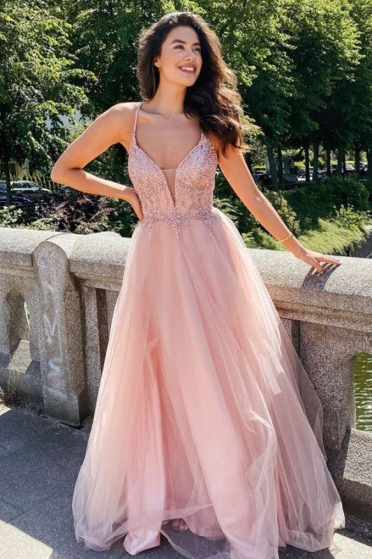 Stilvolle Träger Tüll Abend Maxikleid Romantisches Prom-Kleid mit V-Ausschnitt