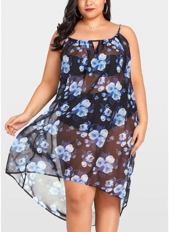 2xl Women Sheer Chiffon Floral Sexy Bikini Cover Up Transparent Asymmetric Beachwear Mini Dress