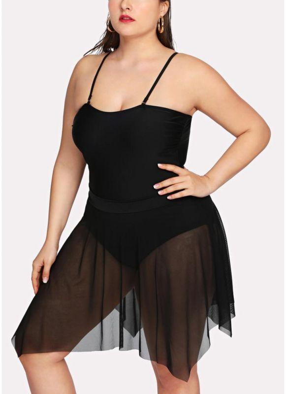Women Asymmetric Mesh Swim Dress Set
