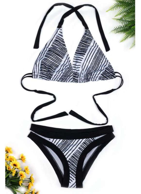 Halter Striped Backless Push Up Bikini