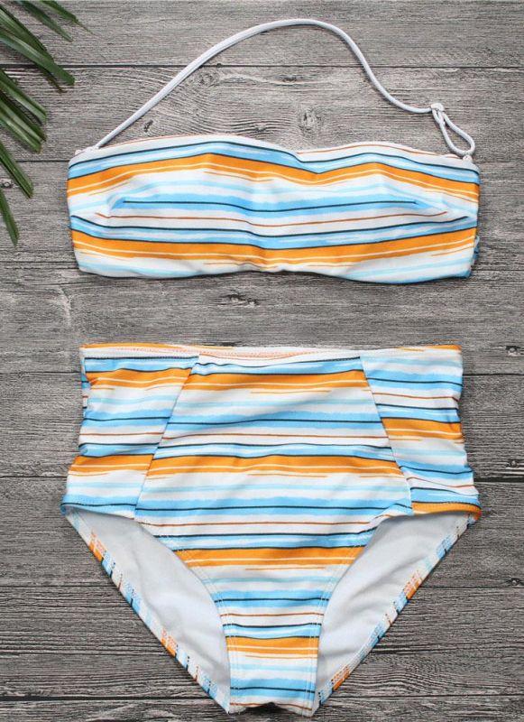 Women Strapless Swimsuit Striped Print Halter Bikini Set Beach Swimwear Bathing Suit