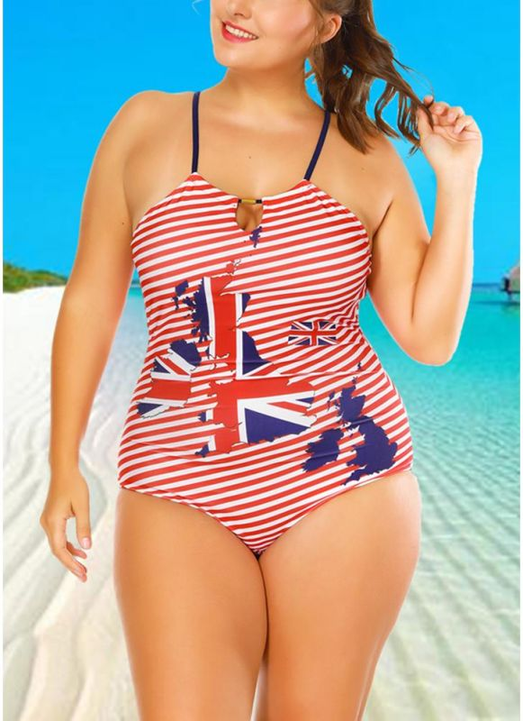 Plus Size Striped Flag Halter Hollow Out One Piece Swimsuit