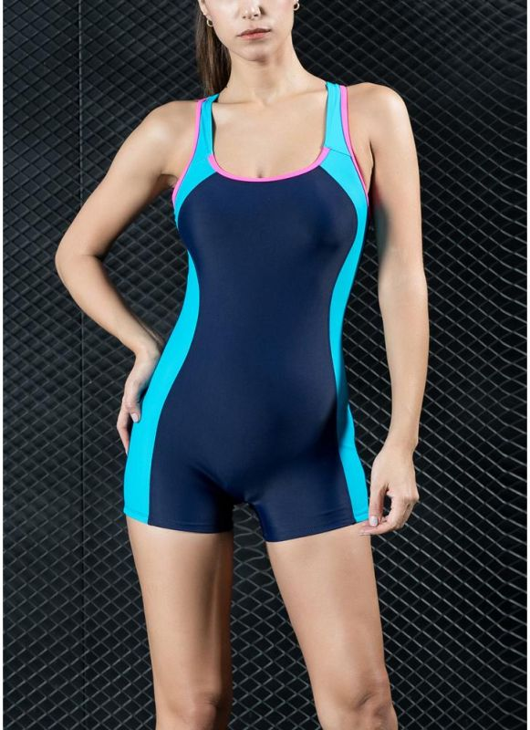 Women Sports One Piece Swimsuit Swimwear Shorts Backless Bathing Suit Swimming Suit