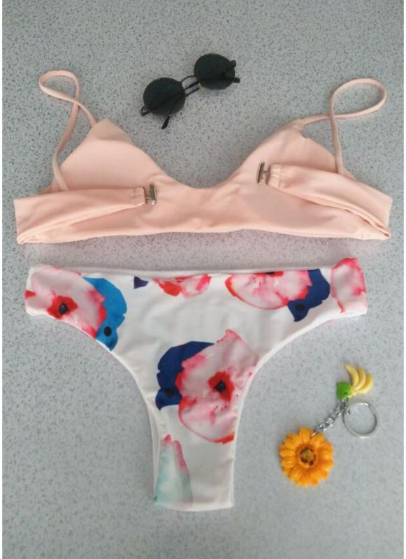 Femmes Color Block Bikini Set Backless Push Up maillot de bain Maillots de bain maillot de bain