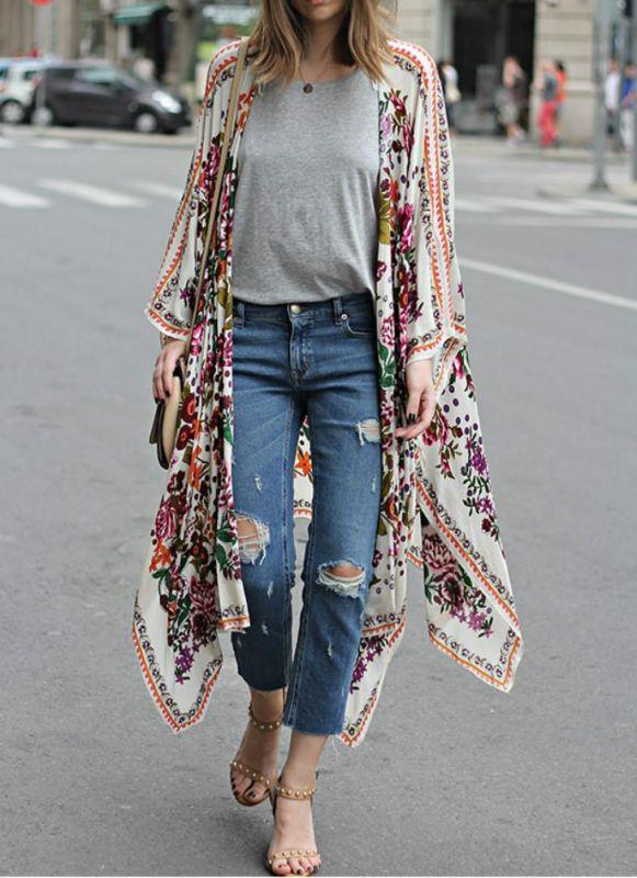 taille en mousseline de soie imprimé floral asymétrique Long Kimono lâche