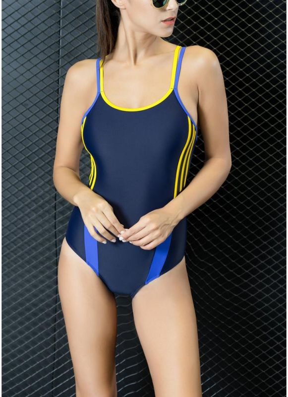 Athletic Contrast Strap Push Up Open Back Racing Competition One Piece Swimsuit