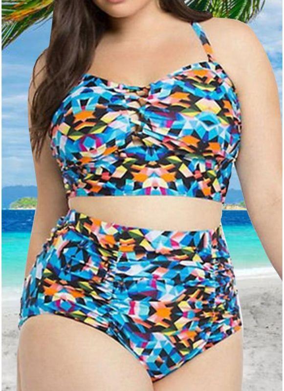 Contrast Color High Waist Push Up Sexy Bikini Set