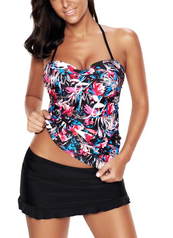 Femmes Plus Size Floral Halter Bikini maillot de bain Criss Cross Tankini jupe Set