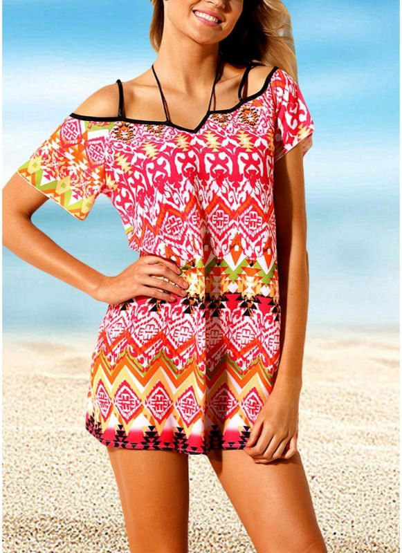 Women Beach Dresses Cover Ups Geometry Print Halter Tie Mini Sexy Bikini Beachwear