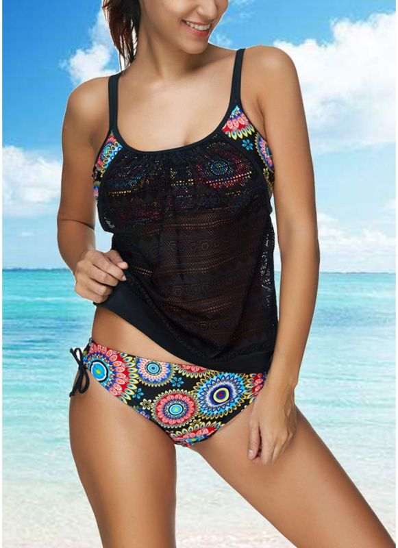 Women Bikini Set Swimwear Swimsuit Tribal Floral Print Strap Crochet Two Piece Bathing Suit Beachwear