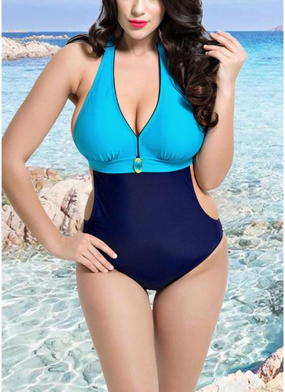 Backless Contrast Color Swimwear Bandage Bathing Suit