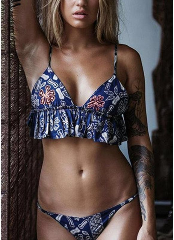 Brazilian Ruffle Flower Print Sexy Bikini Set