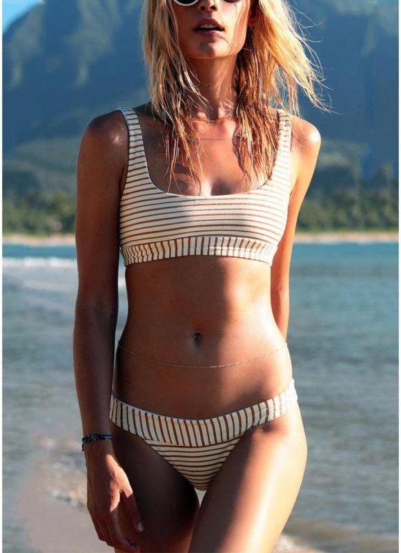Women Brazilian Sexy Bikini Set Swimsuit Striped Print Swimwear Padded Beach Wear Two Piece Bathing Suit Red