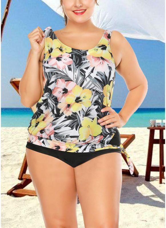 Plus Size Floral Print Tankini Sleeveless Two Piece Swimwear