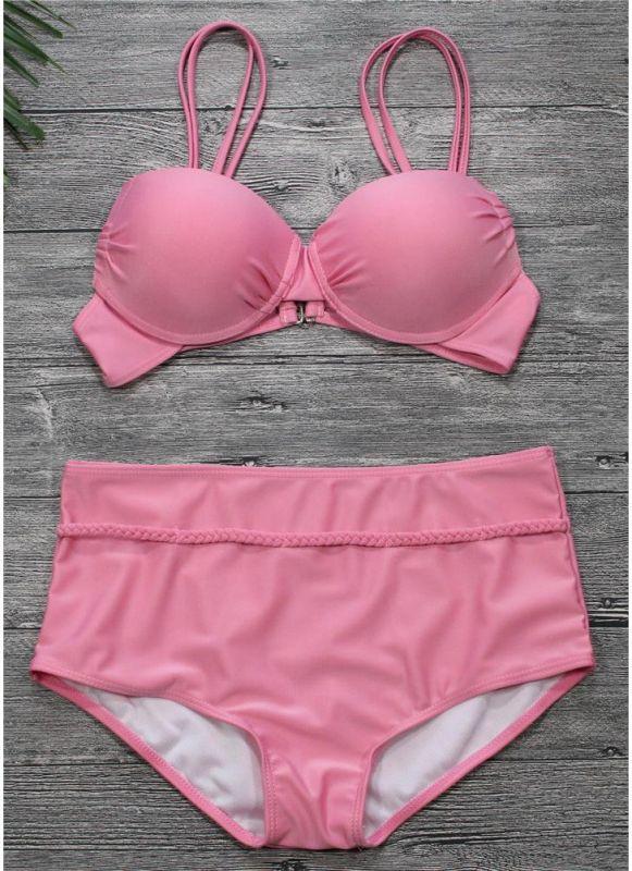High Waist Backless Push Up Padded Underwire Solid Bandage Bikini Set