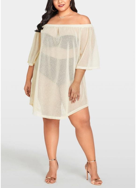 Women Sheer Cover Up Dress 3/4 Sleeve Sexy Bikini Cover-up Overall