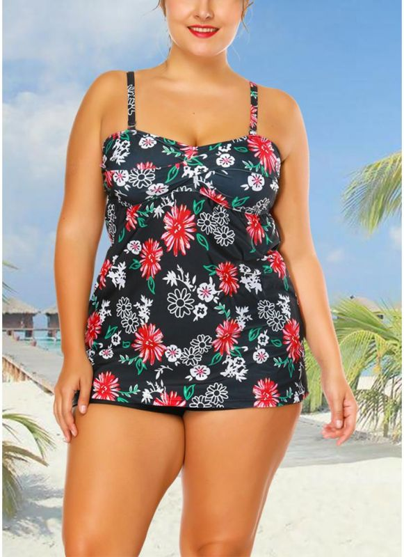 Plus Size Cami Top Boxer Triangle Floral Printed Spaghetti Strap Sleeveless Two Piece Set Swimsuit