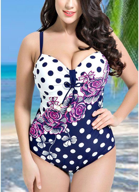 Women Plus Size Floral Dot Swimsuit Cut Out Backless Plunge Strap Monokini