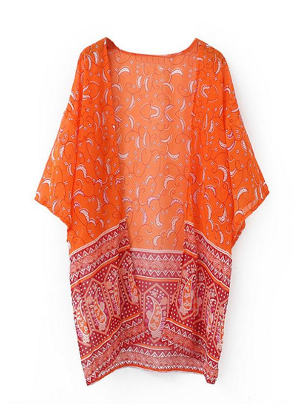 Women Cardigan Open Front Contrast Print Half Sleeve Kimono