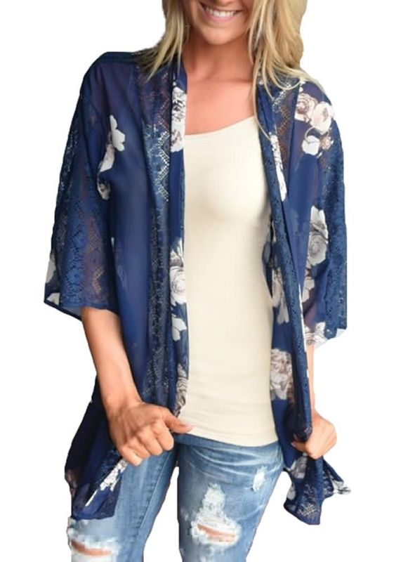 Cardigan en mousseline de soie d'été imprimé floral évider Kimono féminin