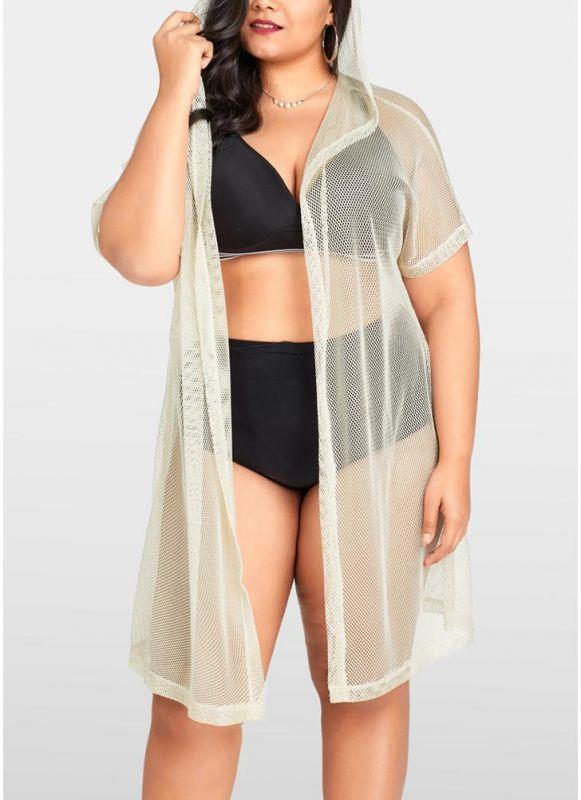 Women Sexy Bikini Cover Up Fishnet Hooded Cardigan Plus Size Outerwear Beachwear