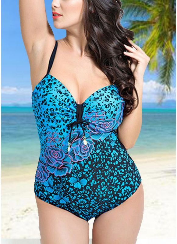Women Large Size One Piece Swimwear Push Up Padding Wireless Swimsuit