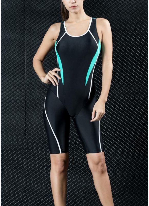 Women Professional Sports One Piece Swimsuit Swimwear Racing Competition Full Brief Knee Bathing Suit