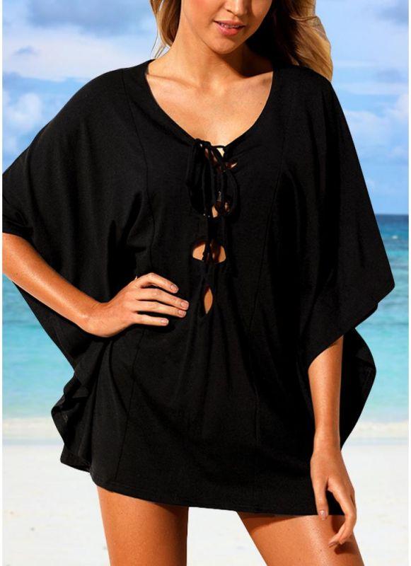Women Beach Cover Up Lace Up Kaftan Swimwear Beachwear Loose Sexy Bikini Dress
