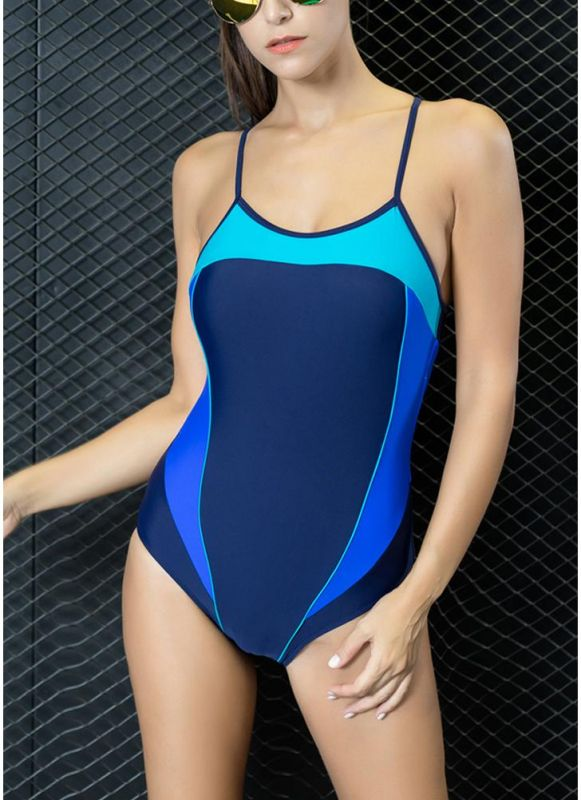 Women One Piece Swimwear Color Splice Strappy Sleeveless Padding Wireless Bathing Suit Swimsuits