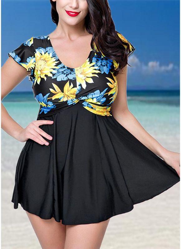 Plus Size Contrast Floral Print Underwire One Piece Swimsuit