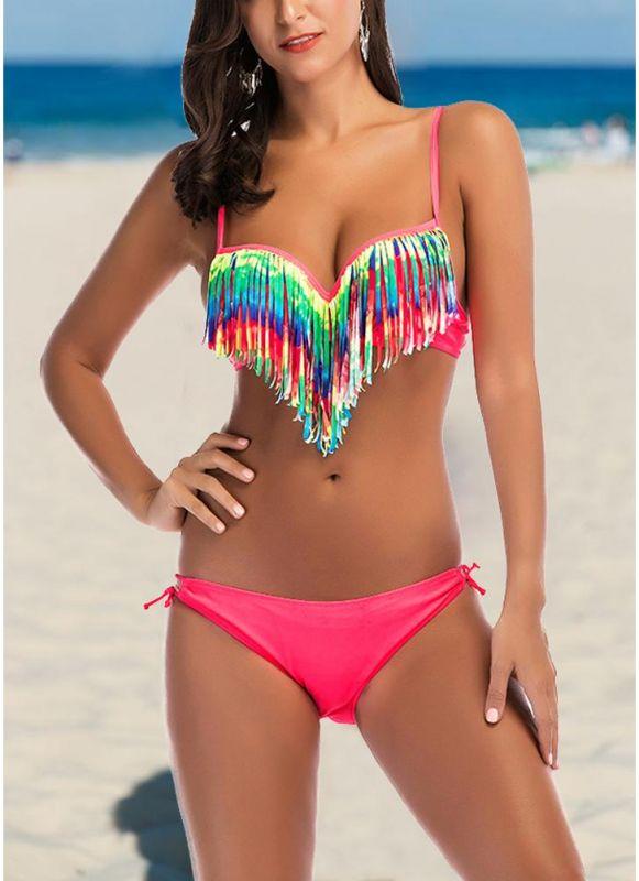 Women Bikini Two Piece Set Sweetheart Neck Hollow Out Low Waist Swimsuit