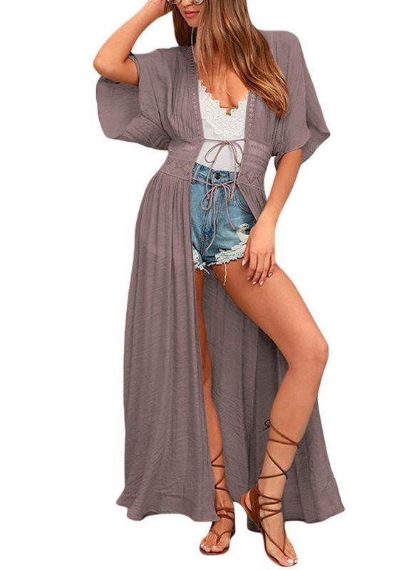 Women Beach Cover Up Lace Bandage Maxi Cardigan Tunic Sexy Bikini Swimsuit