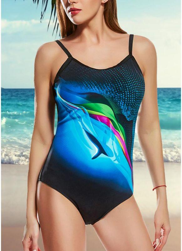 Women One Piece Swimsuit Contrast Color Dot Print Padded Swimwear Bathing Suit