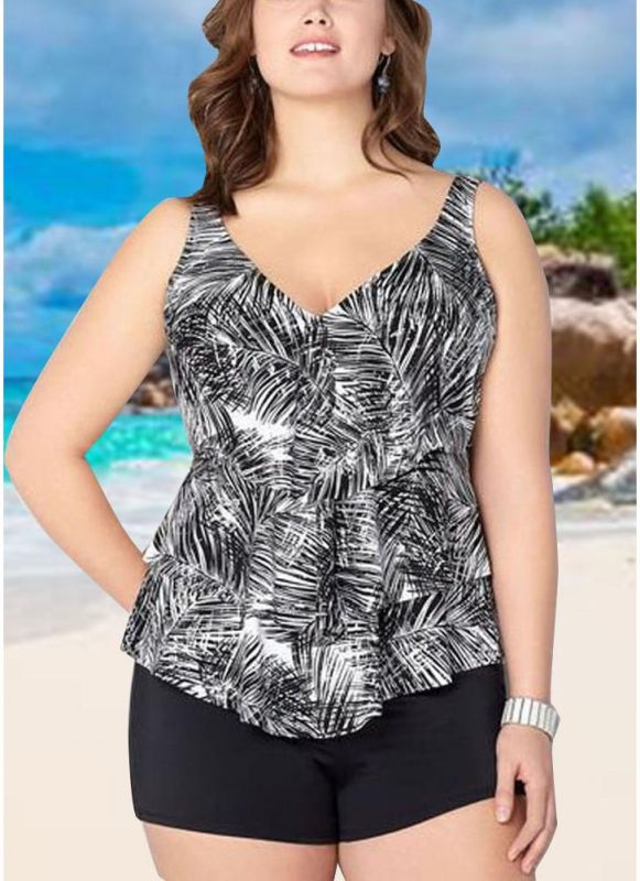Women Plus Size Palm Leaf Tankini Set Boyshorts Two Piece Bathing Suits Swimwear