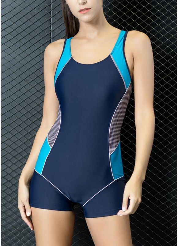 Women One Piece Swimwear Color Splice Cut Out Padding Bathing Suit Swimsuits
